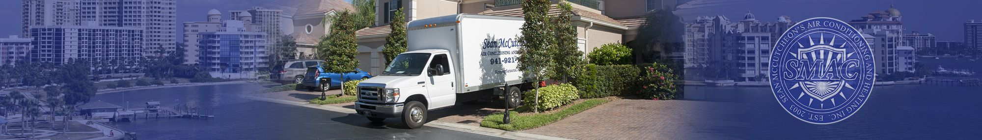 Sarasota air conditioning truck at residence - Sean McCutcheon's Air Conditioning and Heating, Inc. (SMAC)